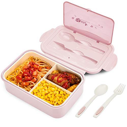 BIBURY Fiambrera, caja bento a prueba de fugas para niños adultos, recipiente para alimentos con 3 compartimentos y juego de cubiertos, lonchera comidas aptos para microondas y lavavajillas (Rosado A)