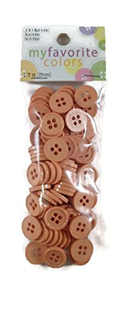 Coral 2 Hole Round Buttons Set - 100 Pieces
