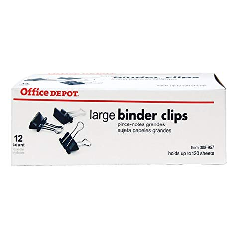 Office Depot Binder Clips, Large, 2in., Box Of 12 Clips
