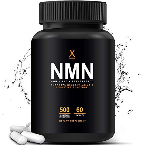 NMN Stabilized Form 500mg (Nicotinamide Mononucleotide) Third Party Tested, to Boost NAD+ Levels Like Riboside for Anti Aging - Resveratrol & NAD Booster Supplement - NAD Plus Cell Regenerator, HumanX