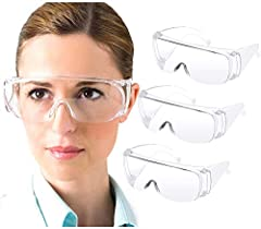 Safety Goggles : Anti-fog, windbreak, high transparency and anti-impact. Transparent safety glasses not only protect against dust and splashes but also prevent fogging through branch ventilation holes. Supports Over-Glasses : The space in the clear g...