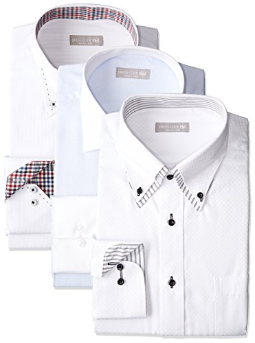 [ドレスコード101] ワイシャツ メンズ 福袋 3枚セット 形態安定 透けにくい 好印象を与えるデザイン Yシャツ ビジネス FUKU-3 首回り41×裄丈84 (日本サイズL相当)