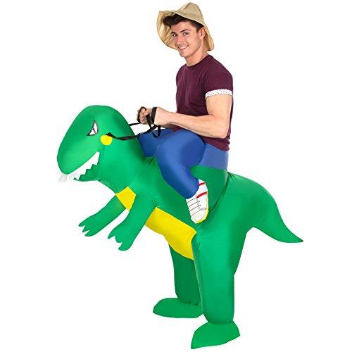 Morph Men's Jurassic Inflatable Dinosaur T-Rex Ride On Costume, One Size