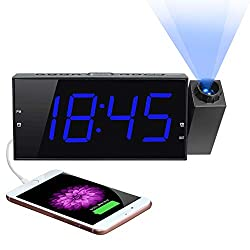 "Projection Digital Alarm Clock for Bedroom, Projector Clock,Large 7"" LED Display&Dimmer, USB Charger, Adjustbale Ringer,12/24H,Plug in Wall Ceiling Clock,Loud Dual Alarms for Heavy Sleeper Kid Elderly"