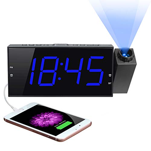 Projection Digital Alarm Clock for Bedroom, Large LED Alarm Clock Projection on Ceiling Wall, 180°Projector,Dimmer,USB Charger,Battery Backup Loud Dual Alarm Clock for Heavy Sleeper Kid Elderly