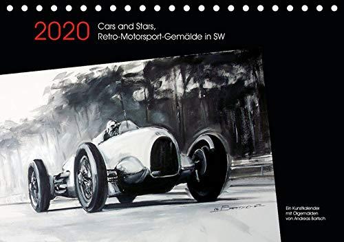 Cars and Stars, Retro-Motorsport-Gemälde in SW (Tischkalender 2020 DIN A5 quer): Stars und ihre Vorlieben für schnelle Autos sind oft schicksalhaft ... 14 Seiten ) (CALVENDO Mobilitaet)