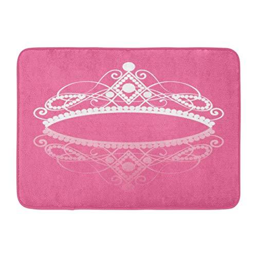 LLeaf Felpudos Alfombras de baño Alfombra de Puerta para Exteriores/Interiores Púrpura Corona Diadema Elegancia Tiara Femenina Reflexión en Blanco 16 x 24 Pulgadas