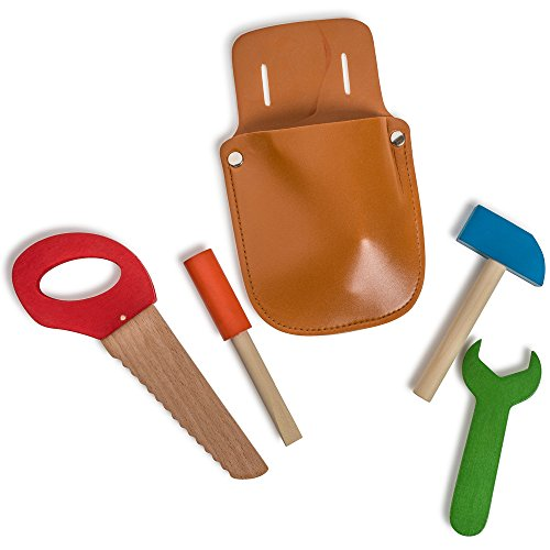 Dress Up America Little Builder Tool Set Pochette à outils en bois Set Pretend Play Jouet's Jouet Tool
