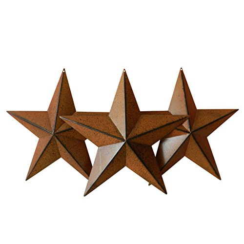 CVHOMEDECO. Country Rustic Antique Vintage Gifts Metal Barn Star Wall/Door Decor, 12 Inch, Set of 3. (Rusty)