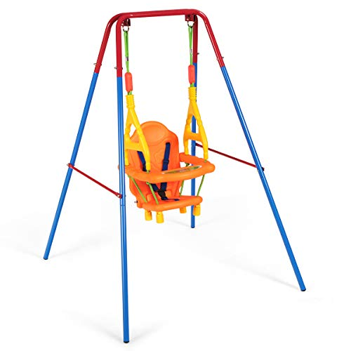 COSTWAY Folding Toddler Swing with Steel Frame, High-back Chair Seat with Safety Belt, 2 in 1 Portable Indoor Outdoor Swing Set for Baby Kids Children's Gift