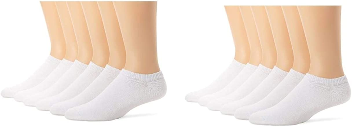 Hanes Ultimate Mens No-Show Socks, White, Size 10-13/Shoe Size 6-12, 12 Pack