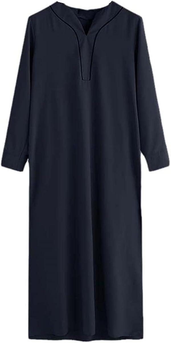 Men's Muslim Clothing Long Sleeve V-neck Casual Saudi Arabian Robe Abaya Dubai Thobe Islamic Kaftan