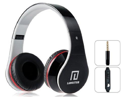 Langston ® Super Bass High Definition Sound Over Ear faltbare Kopfhörer ( iM- 12v ) in Schwarz mit Mikrofon und Remote Geeignet Für TechniPad Mini 7.85 Inch Tablet