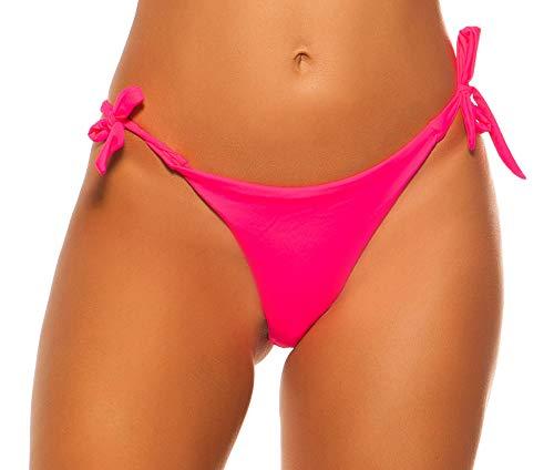 Firstclass Trendstore Bikini-Slip einfarbig zum binden, Damen Bademode Gr. S-L Bikinihöschen (H9583 neonpink L 20200029)