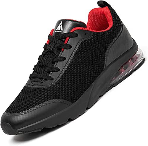 Mishansha Air Sportschuhe Damen Laufschuhe Leichte Atmungsaktiv Turnschuhe Fitnessschuhe Traillaufschuhe Sommer Sneaker Schwarz-Rot,38 EU