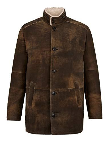 Babista Premium Herren Lederjacke mit Stehkragen in Braun aus gewachsenem Lammfell