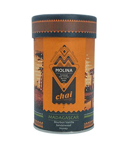 Molina Chai Madagascar - 300gr Premium Chai Latte mit Bio-Kokosblütenzucker - Klassische Gewürzmischung mit Bourbon Vanille, Honig & Sandelholz für Chai Tee Latte - Laktosefrei