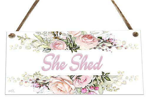 the sticker studio ltd She Shed Garden Family Flowers Novelty Wooden Plaque Sign Gift fcp24