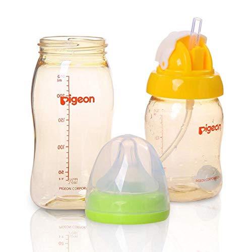 Feeder-Trinkflasche mit großem Kaliber, Strohkessel, Zubehör für Fläschchen, gelb