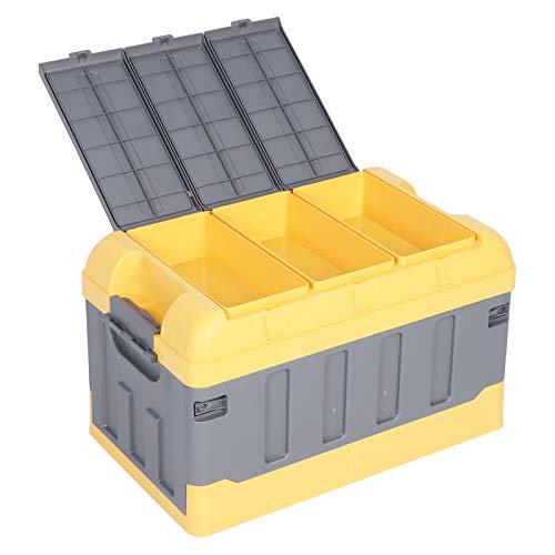 Cerlingwee Capacidad del Compartimiento de Almacenamiento Plegable 75L PP Organizador de Maletero de plástico al Aire Libre para Viajes(Yellow, White)