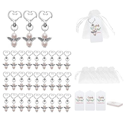 Yousiju 30 unidades de ángel de la guarda de la suerte, llavero de ángel de la guarda, recuerdo de ángel de la guarda, regalos de baby shower para invitados (color: B, tamaño: talla única)