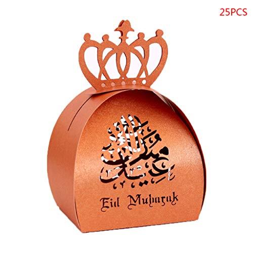 Congchuaty 25 stks gesneden holle snoep doos parelmoer papier bruiloft partij gunsten dozen moslim Eid Mubarak Ramadan partij decoratie Brons