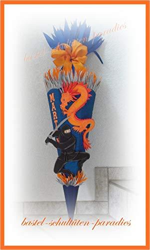 Schultüten Bastelset Ninja mit Drachen blau-orange