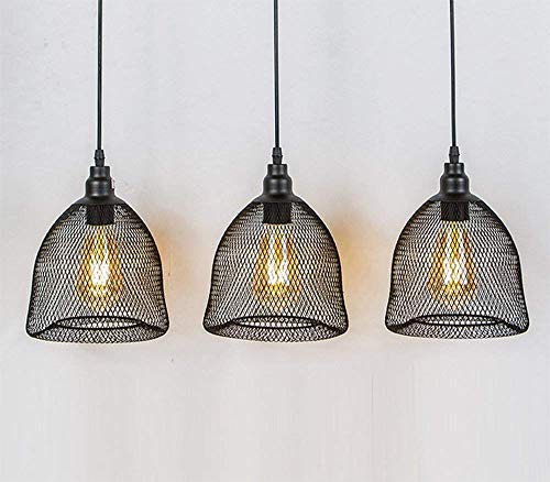 G-D Hanglamp Industriële Dome Mesh Lampenkappen Kroonluchter Vogelkooi Metaal Zwart Plafond Lamp Loft Retro E27 Decoratieve Bar Zwart