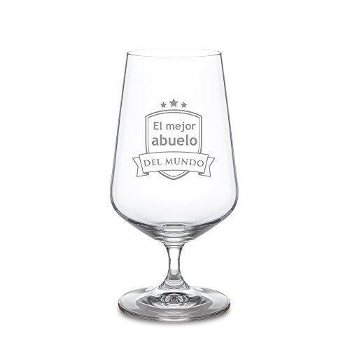 AMAVEL Copa de Cerveza con Escudo Grabado, para El Mejor Abuelo del Mundo, Diseño Tulipa, Capacidad 0,4 litros