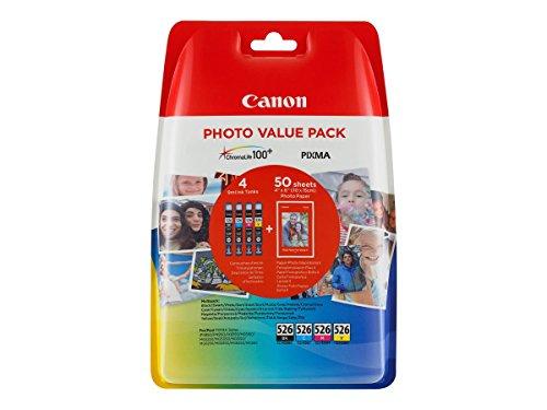 Canon CLI-526 4 Cartuchos de tinta original BK/C/M/Y (Incluye PP-201 50 sheets) para Impresora de Inyeccion de tinta Pixma MX715,885,895-MG5150,5250,5350,6150,6250,8150,8250-iP4850,4950-iX6550