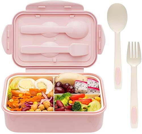 1400 ml Bento Box Salatbehälter für Kinder und Erwachsene, Salat Lunchbox Behälter Brotdose mit 3 Fächern und Besteck (Gabel Löffel), Große Kapazität Salatschüssel für EIN Picknick im Freien [Rosa]
