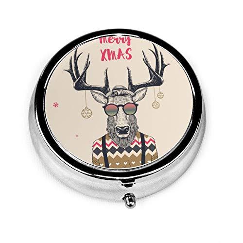 Merry Xmas Cool Hipster Deer Custom Fashion Silver Round Pill Box Medicine Tablet Holder Wallet Organizer Case For Pocket Or Purse Vitamin Organizer Holder Decorative Box