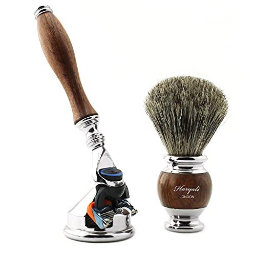Super Blaireau de rasage en poils de blaireau avec rasoir à 5 bords et support de rasoir – Kit de rasage de voyage 3 pièces pour homme avec manche en bois