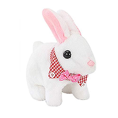 Spaß Interaktiv Kaninchen Plüschtier-Spielzeug-Simulation elektrische nette Puppe-Puppe, um das kleine weiße Kaninchen-Mädchen-Baby-Spielzeug-Geburtstagsgeschenk (ohne Batterie) Funny Family Spielzeug