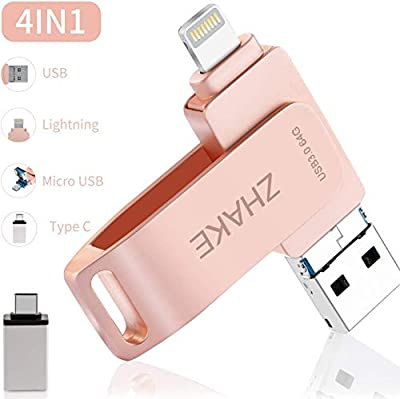 Memory Stick for iPhone USB Flash Drive USB C 3.0 64GB Pen Drive for iOS iPad Computer OTG Type C Android Mobile Tablet MacBook [4 in 1] External Storage 64GB Rose Gold