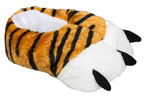 gibra Tigertatzen Tierhausschuhe, kuschelig warm und weich, in Doppelgrößen, Gr.36/37-44/45, Braun,gelb,getigert,gestreift, 42/43 EU