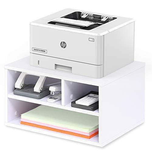 FITUEYES Druckerhalter Holz Weiß mit 3 Fächern Schreibtisch Organizer für Büro und Zuhause 40x30x22cm DO304005WW