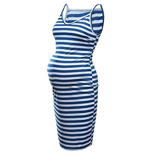 TUDUZ Umstandskleid Sommer Lang Kleider Strandkleider Damen Sommer Gestreift Ärmellos Sommermode Schulterkleid (Medium, Blau)