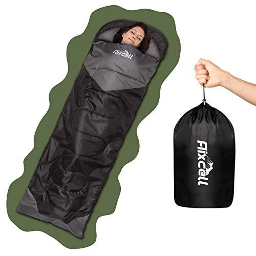 Aixcell® Schlafsack – Praktischer Aufbewahrungsbeutel Schlafsack – Grau & Schwarz – Universalgröße [190]+[30] x [75] cm – 100% Polyester