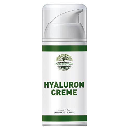 Pure Essentials - Hyaluron Creme 50ml | Vegane Tages- und Nachtcreme hochdosiert für Gesicht, Hals, Dekolleté, Augen - Premium Qualität (50ml)