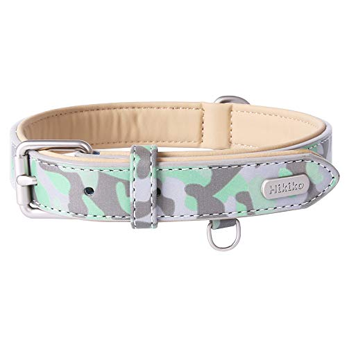 Hikiko Personalized Leather Dog Collar Soft & Breathable Padded | Glow in The Sun | | Heavy Duty Buckle| for Medium Large Dogs
