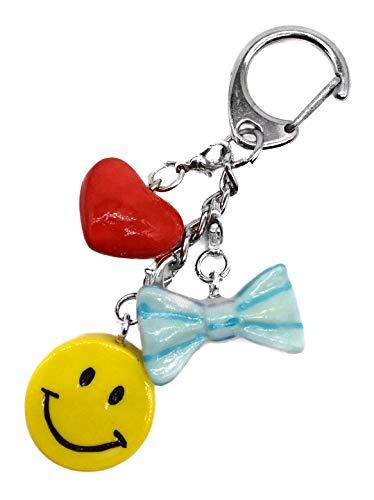 Llavero con colgante de emoticono de emoticono, corazón rojo, cinta azul, joyería para mujer, collar con colgante, regalo para ella, colgante de clip de porcelana, hecho a mano, pintado a mano