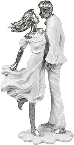 Modern sculptuur decofiguur liefhebbers op voet wit/zilver hoogte 36 cm * 1 stuk *