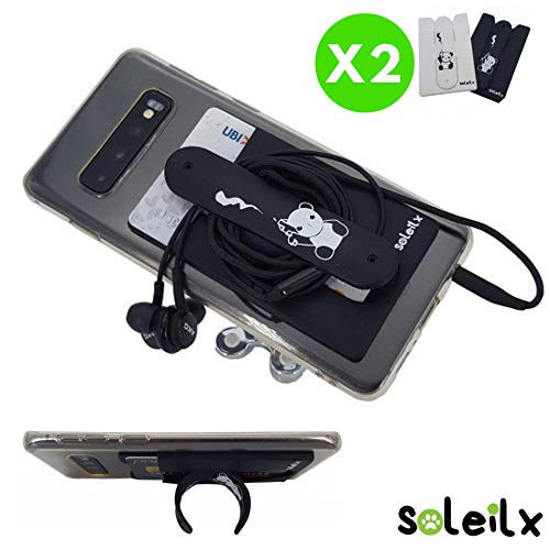 soleilx - Soporte Universal para Smartphone, Tarjetero, Adhesivo, para teléfono móvil, Tarjetas de crédito, Auriculares, Documentos, para iPhone, Samsung, Android y Huawei