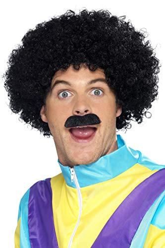 Smiffys Heren krullende pruik, pruik en snor Liverpooler pruik, zwart, One Size, 42248