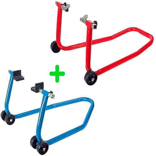 PACK soporte/elevador/caballete DELANTERO + TRASERO caballetes para moto universal - Marca RZ TOOLS
