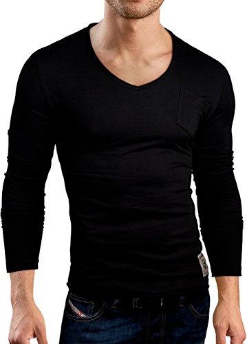 Grin&Bear Coupe Slim T-Shirt de col V, Manches Longues, Noir, L, BH129