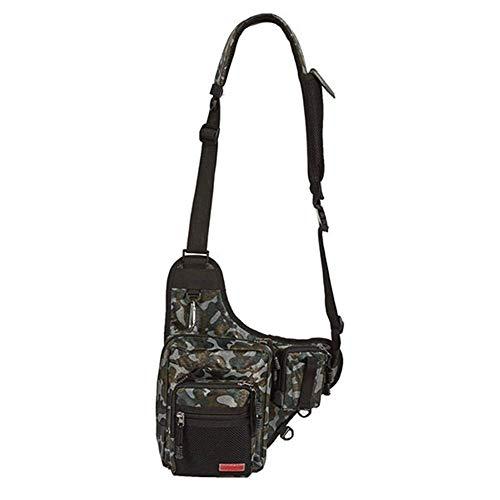 1yess Tackle Angeltasche 420D Multi-Purpose-Fischen-Köder Tasche Rucksack im Freien Angeln 4-Schicht-Fanggeräte Werkzeug, Größe: Approx.23X18X8cm (Color : Woodland Camouflage)