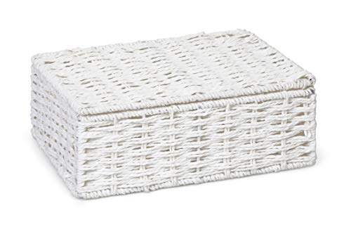 ARPAN Paper Rope Storage Basket Box With Lid - White (Small)