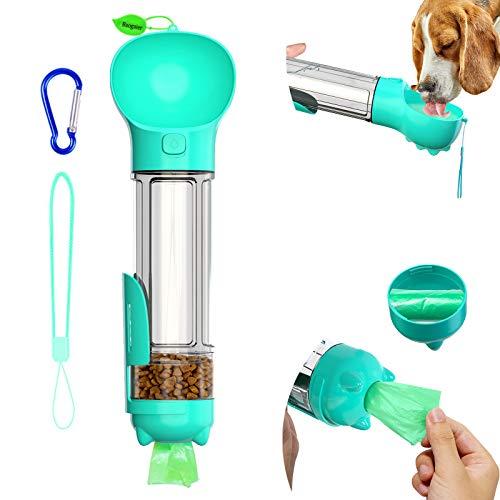 Botellas de Agua para Perros, Baogaier 500ml Portatil Bebederos de Agua para Mascotas al Aire Libre, 5 en 1 Multifuncional Dispensador, Platos, Almacenamiento de comida de Viaje para Gato Perros, Azul